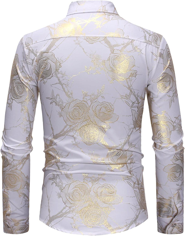 Huangse Men's Fashion Long Sleeve Bronzing Floral Printing Dress Shirt Button Down Turndown Collar Top Blouse