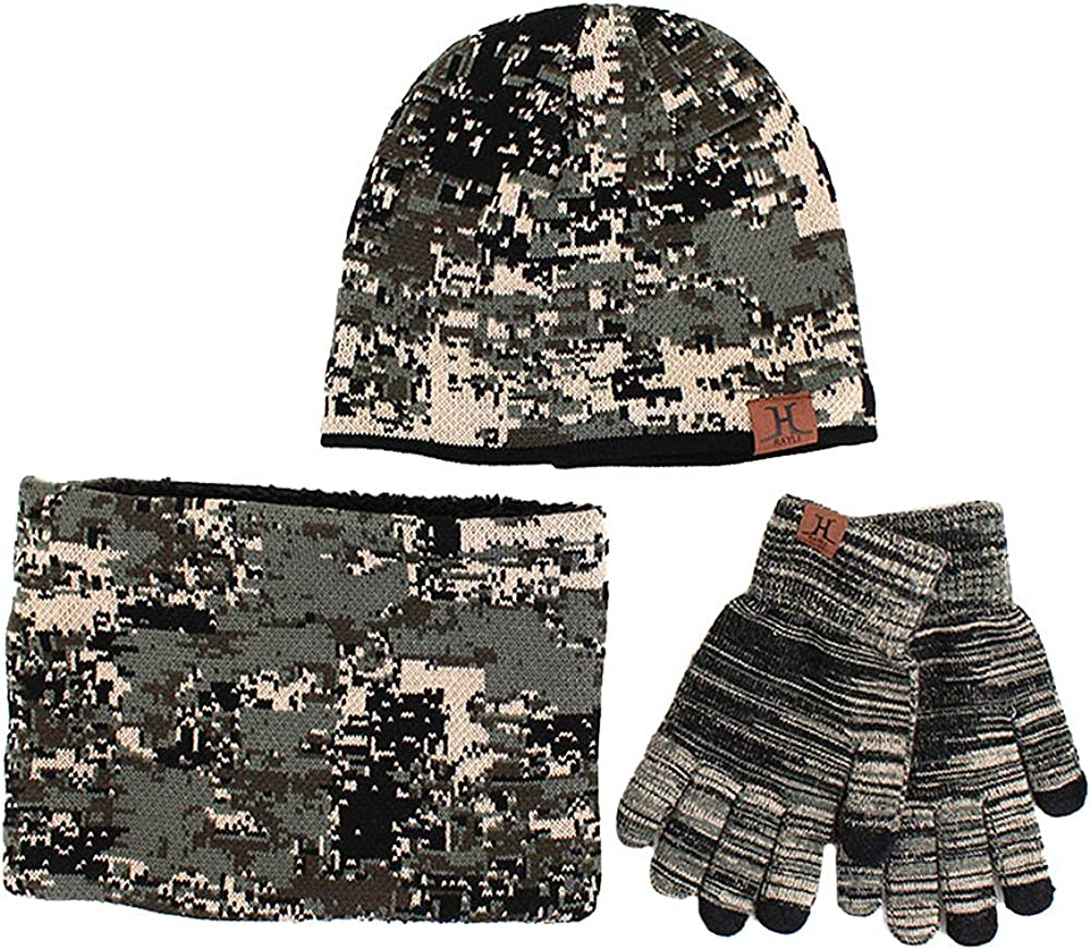 Van Caro Knit Camouflage Beanie Scarf Touchscreen Gloves Warm Set for Men Women