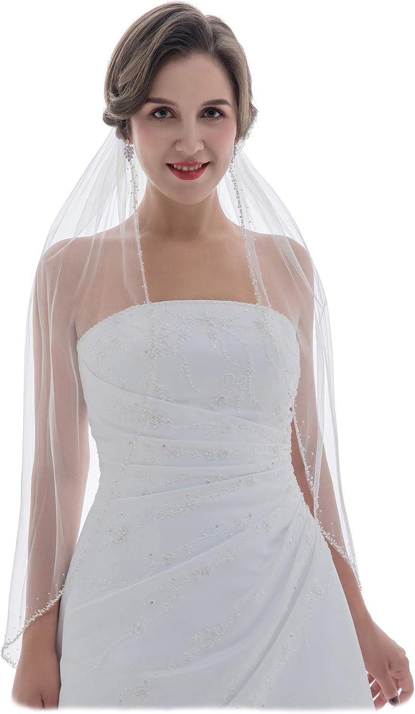 SAMKY 1T 1 Tier Wide Crystal Pearls Beaded Edge Wedding Veil