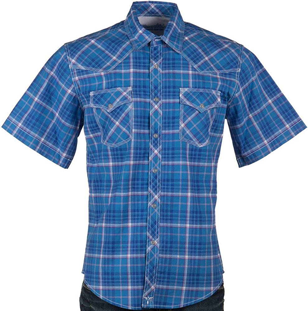 Wrangler Men's 20X Competition Plaid Short Sleeve Western Shirt Blue Medium