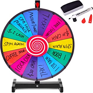 Giantex 18'' Tabletop Spinning Prize Wheel, 14 Slots Spinner w/Editable Dry Erase, Metal Base & Stand, Fortune Spinning Game for Tradeshow, Carnival, Party, Market Raffle