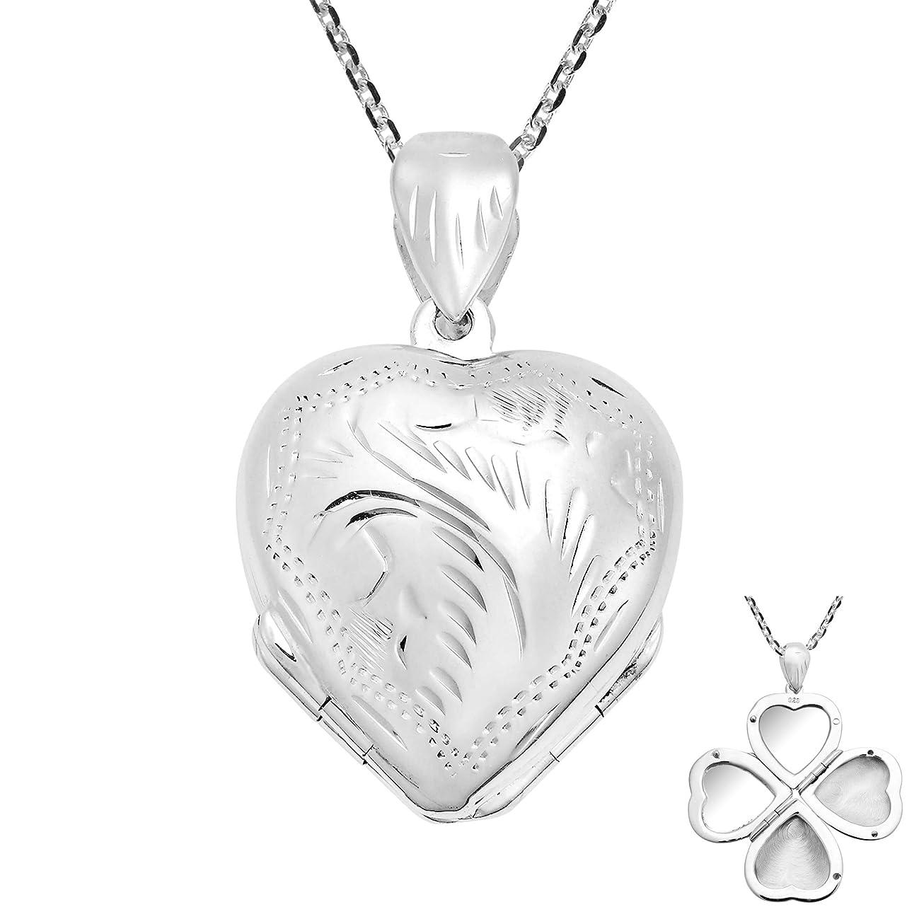 AeraVida Amazing Four-Piece Folding Heart .925 Sterling Silver Locket Necklace