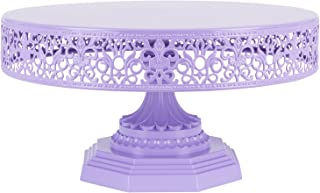 Amalfi Decor 12 Inch Cake Stand, Dessert Cupcake Pastry Candy Display Plate for Wedding Event Birthday Party, Round Metal Pedestal Holder, Lavender Purple