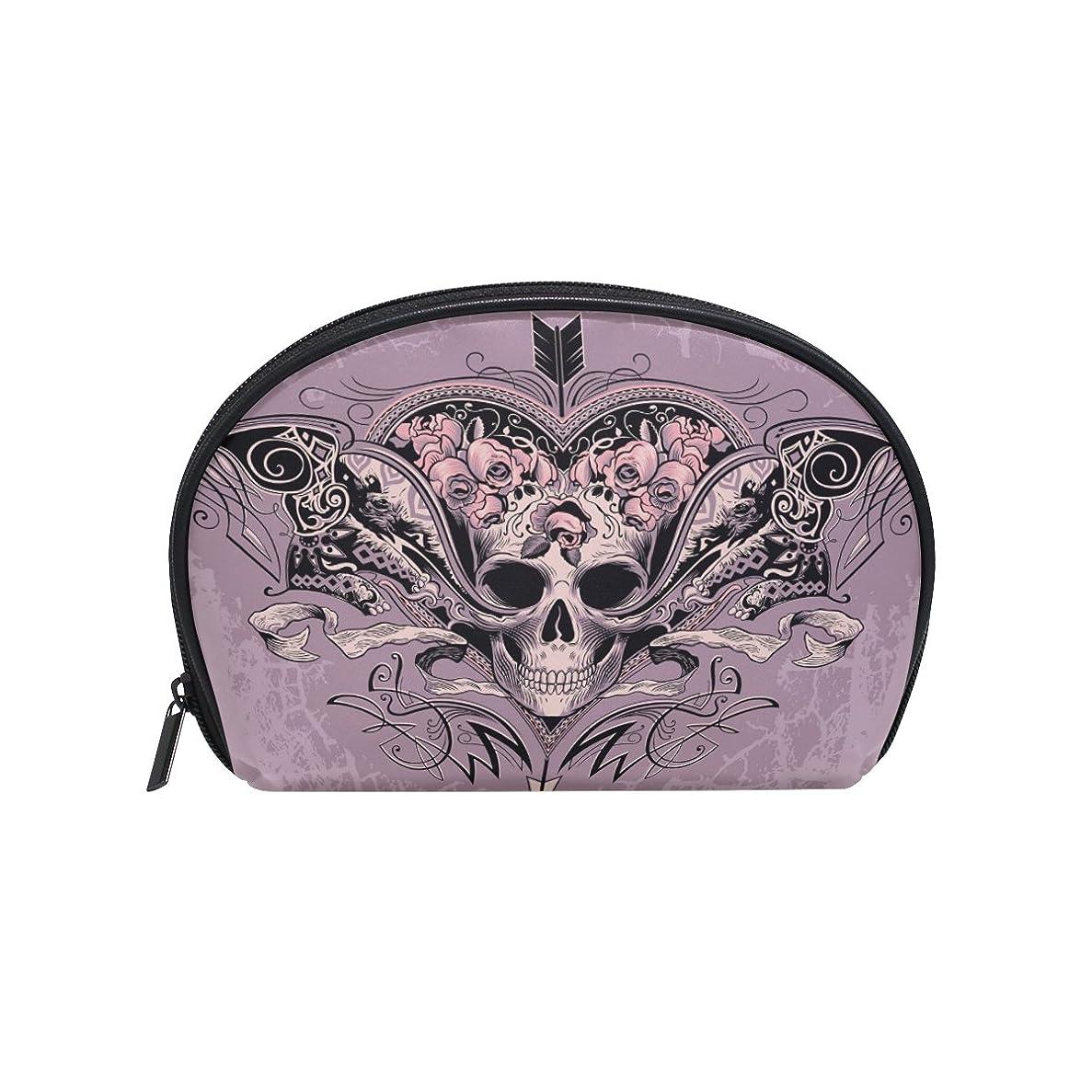 連鎖米ドル加害者ALAZA スカルローズ 半月 化粧品 メイク トイレタリーバッグ ポーチ 旅行ハンディ財布オーガナイザーバッグ