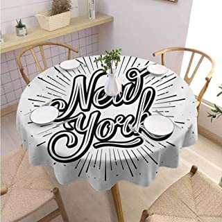 DILITECK Vintage Machine Washable Tablecloth New York Typography Star Burst Calligraphy Hand Written Hipster Lettering Artwork Party Diameter 36