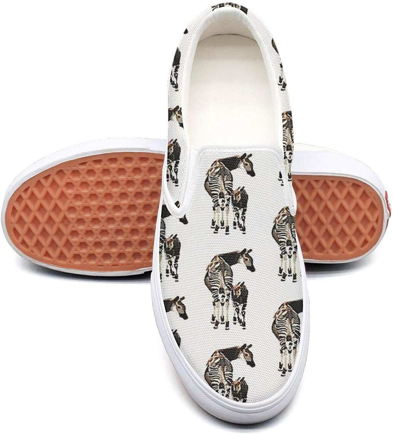 Refyds-es Okapi and Calf Womens Fashion Slip on Low Top Lightweight Canvas Tennis shoes