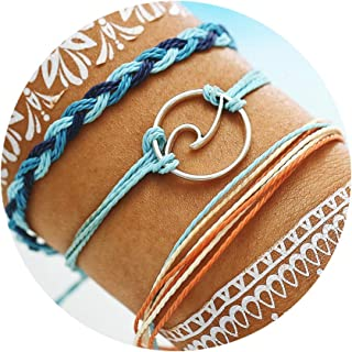 FINETOO Wave Strand Bracelet Set Handmade Waterproof Wax Coated Braided Rope Boho Woven Bracelet Women
