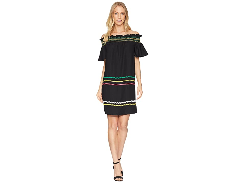 CeCe Short Sleeve Off the Shoulder Smocked Shift Dress (Rich Black) Women