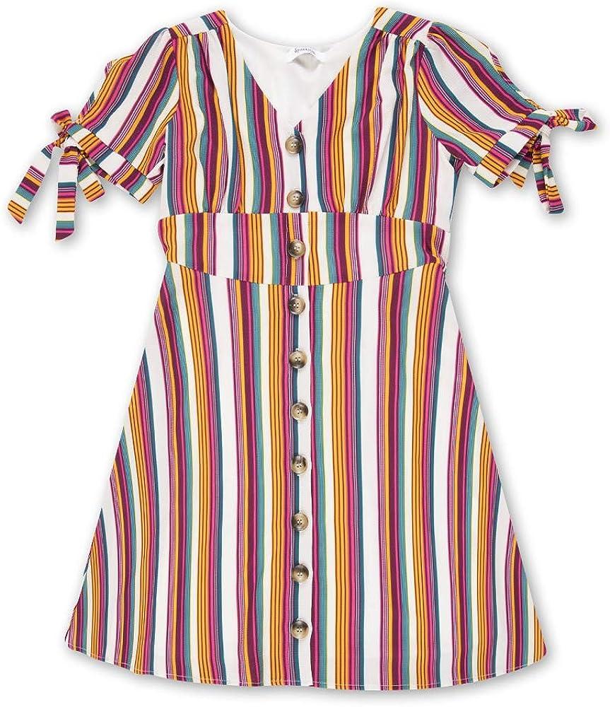 Speechless Girls' Big 7-16 Button Front Woven Dress