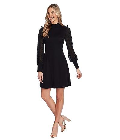 CeCe Clip Sleeve Mock Neck Sweater Dress (Rich Black) Women