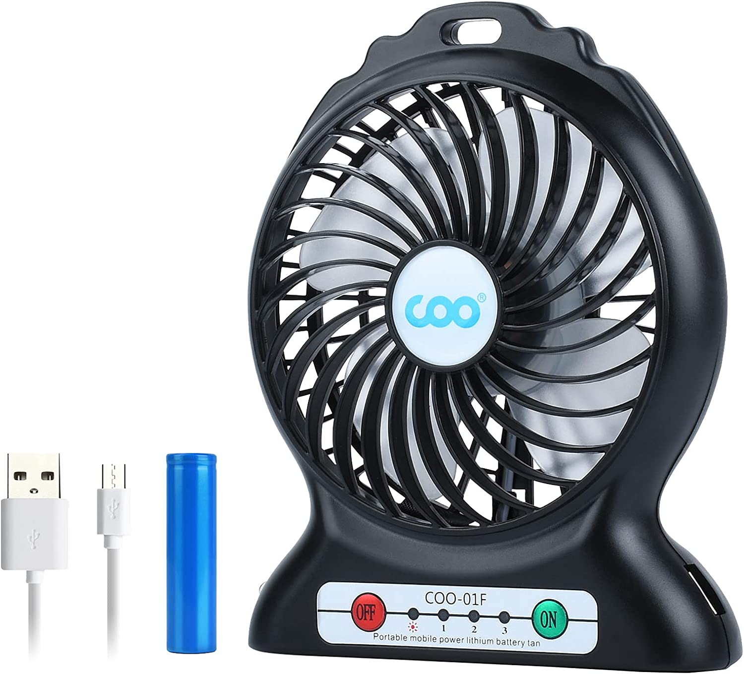 Protable USB Fan Rechargeable,USB Desk Fan,Battery Operated Fan Small,Personal Fan with Flashlight, 2200mAh Power Bank for Phone Charge,3 Speeds Strong Wind,Quiet Mini Fan for Camping,Office,Bed,Car