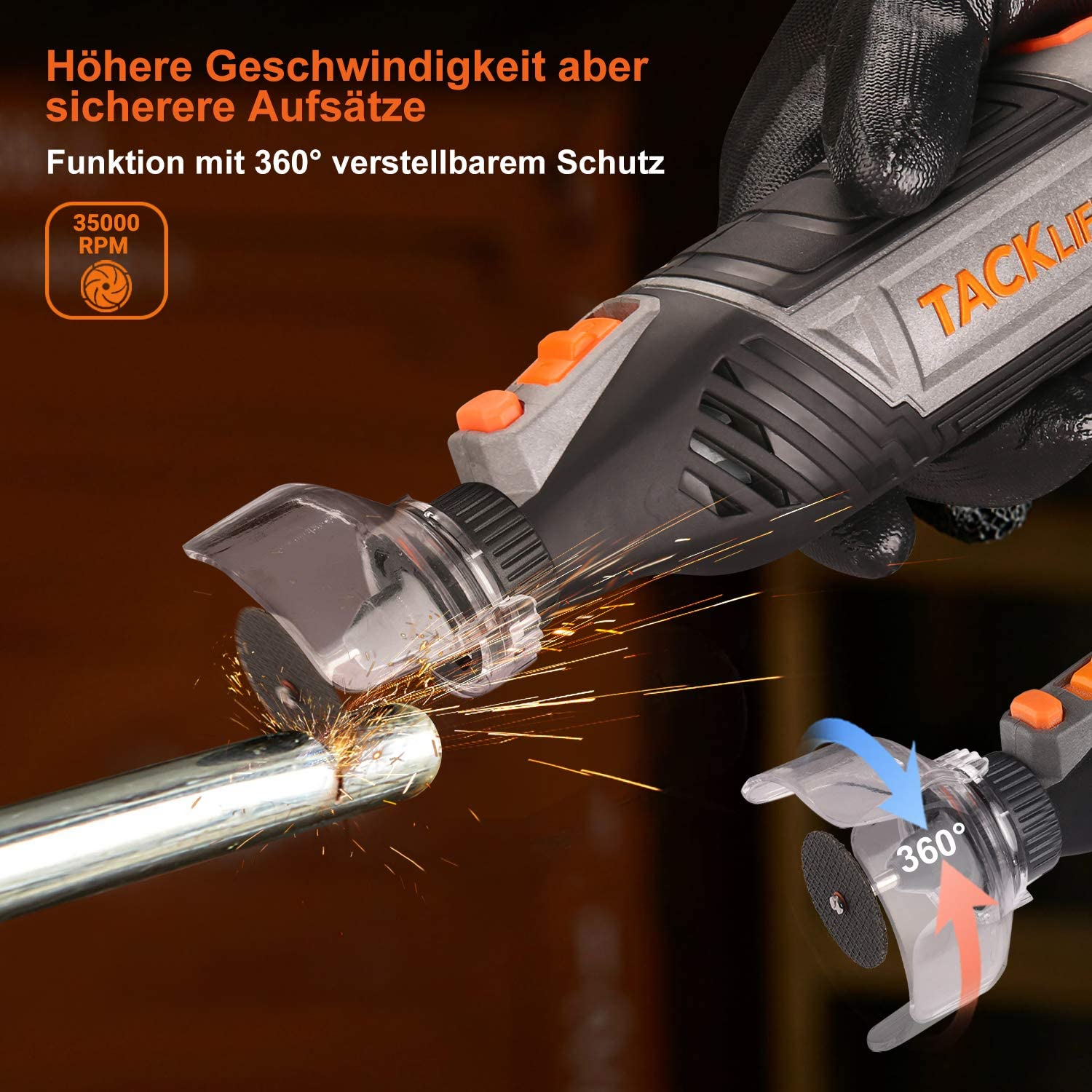 Pour bricoleurs et bricoleurs Outil multifonction Tacklife RTSL50AC 6 niveaux de r/églage 150 accessoires avec mandrin auto-serrant Multipro et arbre flexible