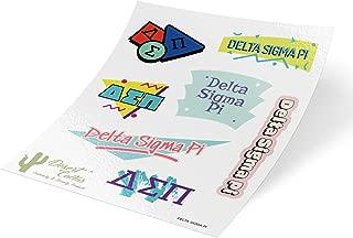 Delta Sigma Pi 90's Themed Sticker Sheet Decal Laptop Water Bottle Car (Full Sheet - 90's)