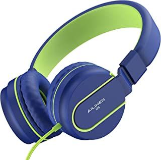 AILIHEN I35 Kid Headphones with Microphone Volume Limited Childrens Girls Boys Teens Lightweight Foldable Portable Wired Headsets for School Airplane Travel Cellphones Tablets (Blue Green)