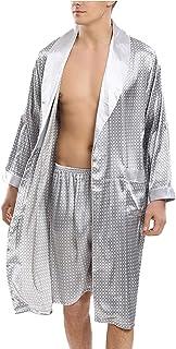 LZJDS Men Nightgowns Kimono Bathrobe Satin Robe,long Sleeve Lightweight Shawl Robe,dressing Gown Nightwear Sleepwear 2-Pie...