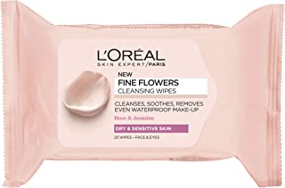 L'Oreal Paris Rare Flowers Wipes- Dry and Sensitive Skin, 25 Sheets
