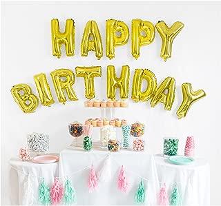 Up Celebrations - Birthday Banner, Happy Birthday Banner, Birthday Balloons, Birthday Decorations, Balloon for Birthday, Foil Happy Birthday Balloons, Balloon Decorations (Shiny Gold, 16 Inch)
