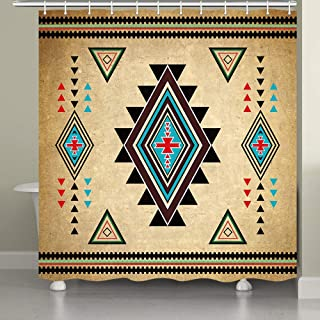 JAWO Southwestern Shower Curtain for Bathroom, Southwest Native American Retro Tribal Navajo Aztec Ethnic Pattern Bathroom Accessories Fabric Bathroom Curtain with Shower Curtain Hooks