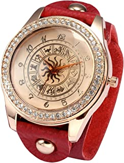 AMPM24 Red Rose Gold Women Watch, Constellations Dial Red Leather Band Strap Crystal Fashion Casual