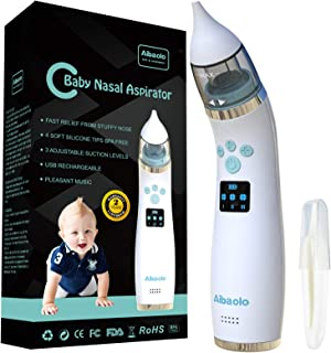 Electric Baby Nasal Aspirator USB Rechargeable - Nose Cleaner with 4 Silicone Tips (2 Different Sizes) and 3 Adjustable Strengths of Suction for Newborns and Toddlers - Wonderful Music