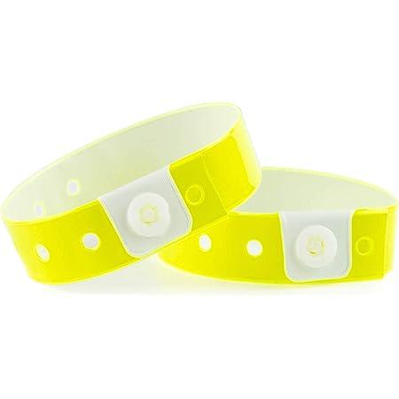 Lot de 100 bracelets plastique/vinyle pour événements - étanche (Jaune Fluo)