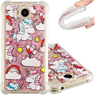 Huawei Y5 2017 Case,EMAXELER Huawei Y6 2017 Cover 3D Creative Cartoon Pattern Anti-Fall Flowing Quicksand Bling Shiny Liquid TPU Soft Case for Huawei Y5 2017 / Y6 2017