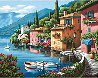 """Oil Paint by Numbers Suitable for Kids Ages 8-12 Painting by Numbers for Adults Beginner with Brushes and Acrylic Pigment Landscape 16"""" x 20""""(Oil Paint Sea1, 40x50cm)"""