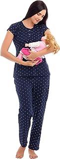 ZEYO Women's Cotton Navy Blue & Pink Feeding Night Suit,Floral Print Nursing Night Dress