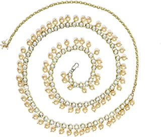 Karatcart Golden Pearl Studded Beaded Kundan Kamarband