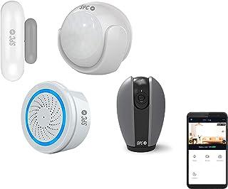 SPC 6910K Security Starter Kit + Teia: 2 sensores (Movimiento y Puertas/Ventanas) Alarma 3 Bombillas de Color/Blanco Cámara Inteligente Wi-Fi 360º Compatible con Amazon Alexa y Google Home