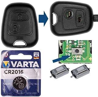 Repair Reparatur Satz Auto Schlüssel Austausch Gehäuse mit 2 Tasten + Drucktasten + Batterie kompatibel mit Peugeot 206