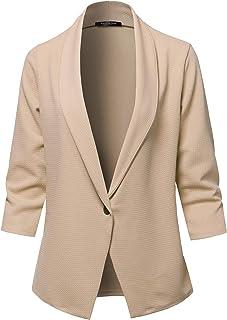 6c6919d7d SSOULM Women's 3/4 Sleeve Lightweight Work Office One Button Blazer Jacket  with Plus Size