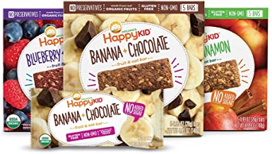 Happy Kid Organic Fruit & Oat Bar, 5 Count Box (Variety Pack of 3) Apple & Cinnamon Banana & Chocolate Blueberry & Raspberry, Chewy Oat Bars w/Fruits & Whole Grains, Kids Snack