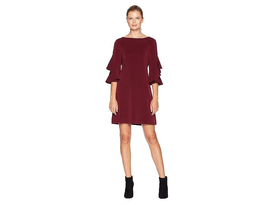 Taylor Double Ruffle Sleeve Shift Dress (Wine) Women