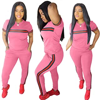 Women's 2 Piece Tracksuit, Outfits T-Shirt Pullover Hoodie Workout Sets Loungewear Sweatsuit Workout Track Suits,Pink,XXL