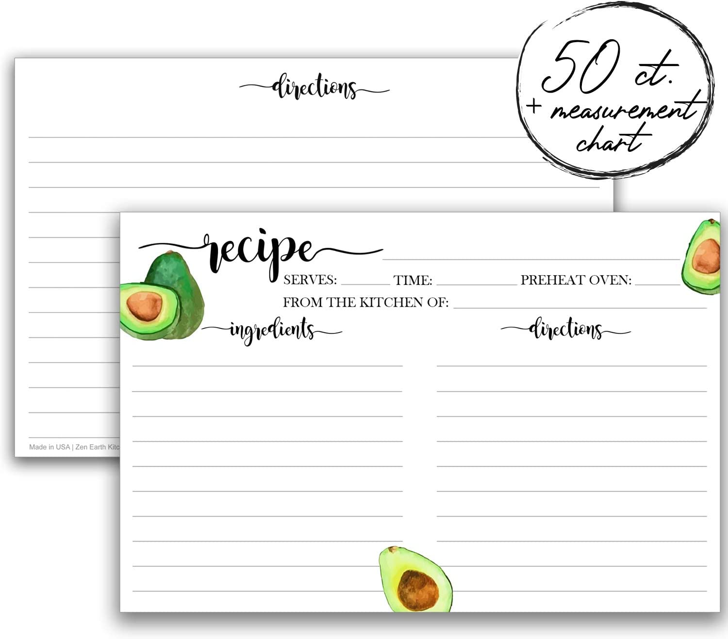 Zen Earth Made with Love Thick Matte Vines Recipe Cards 4x6 Double Sided Set of 50 Wedding Bridal Shower Gifts Cute Notecards for Organized Kitchen Storage Non-Smudge Paper