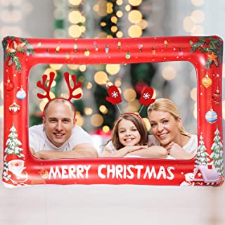 Auihiay Large Size Inflatable Christmas Photo Booth Frame with 2 Christmas Headband for Christmas New Year Party(33.8 x 22 Inch)