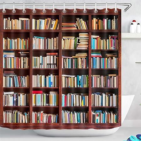 Biblioteca Estante Ducha con Cortina Estantería de Estudio con Libros Curtianos para el baño Accesorios para el hogar Juego con 12 Ganchos Tela de ...