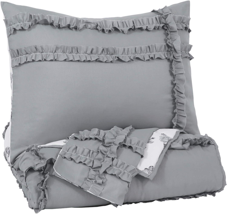 信頼 Signature Design by Ashley Meghdad 最安値に挑戦 Twin Comforter Set Gray Whit