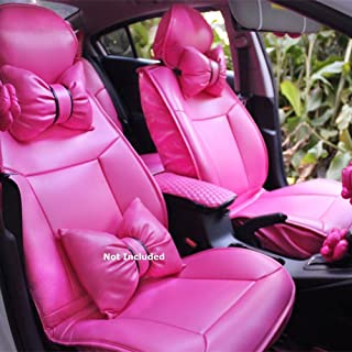 Charming Hot Pink Bowknot Universal Car Seat Covers Front and Rear Leather Seat Covers (10PCS (exclude 2 Rear seat Neck Pillows and1 waish Cushion))