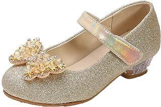 Zapatos de Cuero para niñas Ligeros Antideslizantes de Color sólido con Lazo Zapatos de Vestir Mary Jane Zapatos de Baile ...