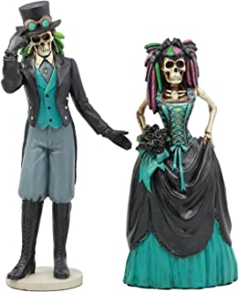 Ebros Day Of The Dead Gothic Steampunk Skeleton Wedding Bride And Groom Statue Lover Never Dies Sugar Skulls Collection Figurine