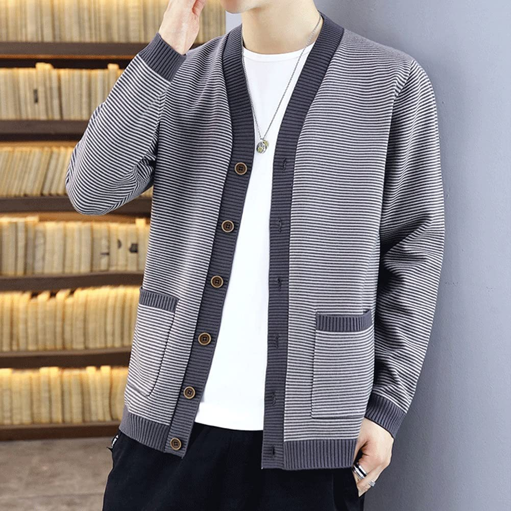 GELTDN Autumn Men's Casual Striped Cardigan Sweaters Man Single Breasted Slim Fitted Stretch (Color : Gray, Size : XXXL Code)