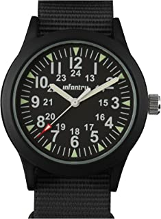 Mens Military Army Field Wrist Watch 12/24 Hour NATO Strap