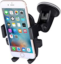 Madeggs Car Phone Holder Car Mount Suction on Windshield 360 Degrees Rotation Freely Adjustable for iPhone Xs Max/XS/XR/8 Plus Samsung Galaxy S9/S8 Plus and More Universal Phone (Black)