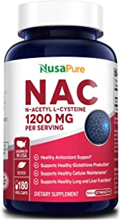 Sponsored Ad - N-Acetyl Cysteine (NAC) 1200mg 180 Veggie Caps (Vegetarian, Non-GMO & Gluten Free) Liver Support, Detoxific...