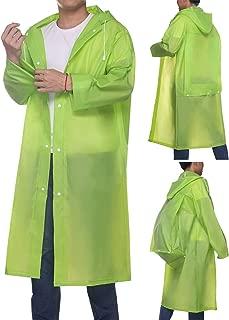 Aoymay Portable EVA Rain Ponchos for Women Men Unisex Reusable Waterproof Hooded Rain Coat Jacket