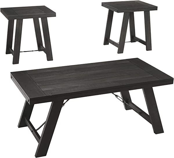 Ashley Furniture Signature Design Noorbrook Occasional Table Set Set Of 3 Farmhouse Black