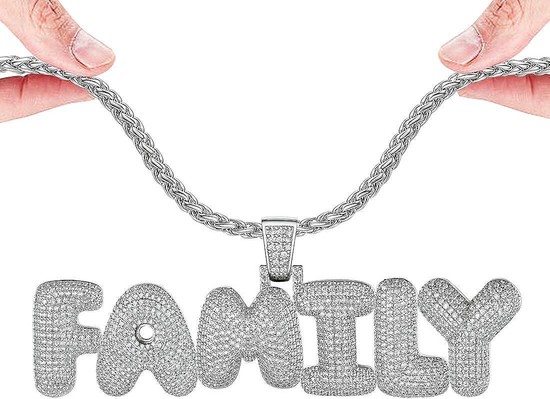 DIY Fashion Full CZ Bubble Letter Necklace Ho Women Personalized Hip Men OFFicial site