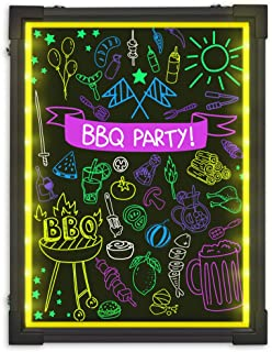 """LED Writing Message Board, 16"""" x 12"""" Illuminated Erasable Neon Effect Restaurant Menu Sign with 8 Colors Markers, 7 Colors Flashing Mode DIY Chalkboard for Kitchen Wedding Promotions by Hosim"""